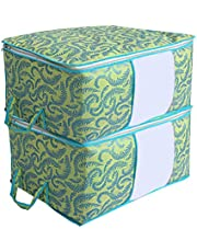 Kuber Industries Metalic Print 2 Pieces Non woven Under Bed Storage Bag, Green