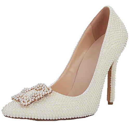 DLAM Damen Leder Spitz Perle Quadratische Schnalle Handgemacht Pumpe Brautjungfern Hochzeit Schuhe Weiß , white , 37
