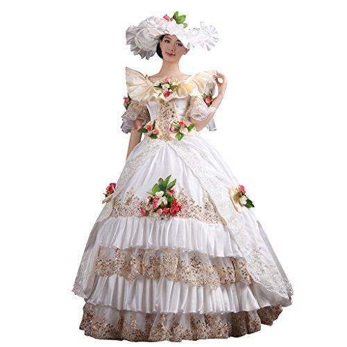 Cosplayitem Layered Viktorianischen Kleid Vintage Palace Maskerade Kleider Kostüm für Damen Mädchen Set von Kleid Hut Petticoat Weiß (Alte Mode-prom Kleider)