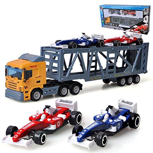 Etbotu Kinder 1pcs Container Lkw Modell + 2pcs Mini Rennwagen Spielzeug Simulation Legierung Auto Modell Zufällige Farbe