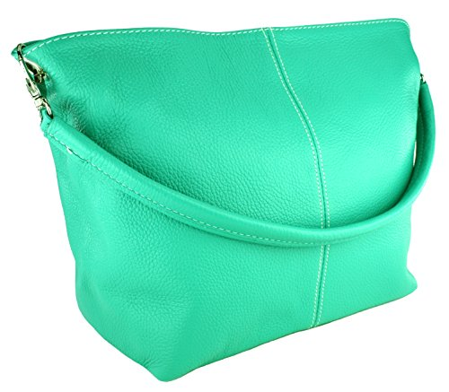 DELARA Piccola borsa shopper in pelle, Made in Italy. Color cachi acquamarina