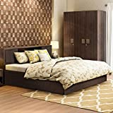 HomeTown Tiago Engineered Wood Box Storage Queen Size Bed in Wenge Colour