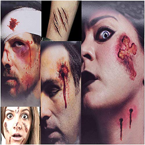 HANPURE Halloween Narben Tattoos, 3 + 5 Pack Halloween schminke, Scars Tattoos, Gefälschte Narben Tattoos, Wasserdicht Temporäre Terror Wunde, Zombie schminke, Halloween Make-up und Cosplay