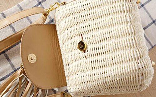 KISS GOLD (TM) Umhängetasche Damen Stroh Handtasche Sommertasche Strandtasche für Damen und Mädchen - Weiß Pink