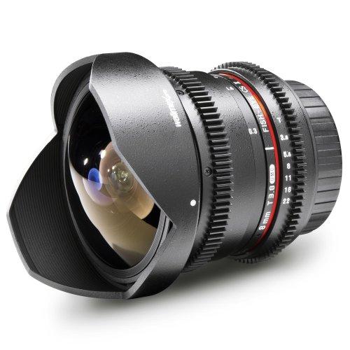 Walimex Pro 8mm 1:3,8 VDSLR Fish-Eye II Objektiv Foto- und Video für Canon EF-S Objektivbajonett schwarz (manueller Fokus, für APS-C Sensor gerechnet, stufenlose Blendeneinstellung) (Canon-video-objektiv)