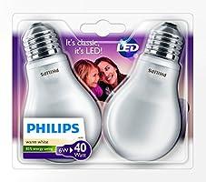 Philips - 8718696422328 - Lot de 2 Ampoule LED Standard Culot E27 - 6W consommés - Équivalence Incandescence 40W