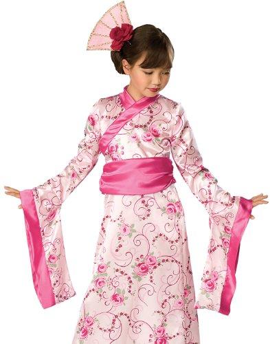 Asien China Kostüm Pink Asia Geisha Geishakostüm Prinzessinnenkostüm Japan Kimono Asiatin Kleid Mädchen Kinder Kinderkostüm Girl Japanerin Chinesin Prinzessin Princess Cheongsam Qipao Gr. M, S, Größe:M (Mulan Kostüm Haar)