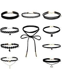 Hexawata Gothic 90s Black Velvet Elastic Henna Tattoo Lace Choker Necklaces Set Of 10