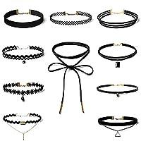 MJARTORIA Gothic 90s Black Velvet Elastic Henna Tattoo Lace Choker Necklaces Set of 10