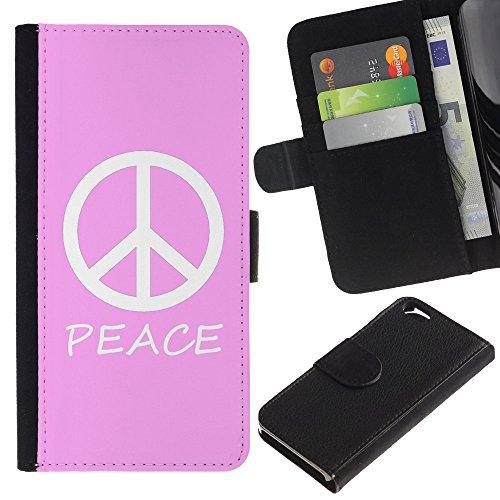Graphic4You Peace Sign Friedenszeichen Design Brieftasche Leder Hülle Case Schutzhülle für Apple iPhone 6 / 6S (Neon Rosa) Rosa