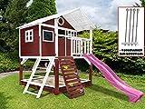 Scheffer Outdoor-Toys Stelzenhaus rot mit Kletterwand, Sandkasten Tobi4you. Kinderspielhaus, Rutsche wählen:Pinke Rutsche, Sicherheit wählen:4X Bodenanker