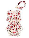 Chicolife 2pcs infantile delle ragazze tuta di estate anguria Pompon sleeveless del bambino casuale tute Outfit