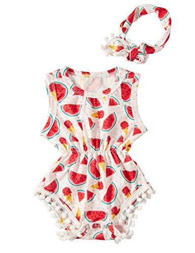 Kostüm Baby Set Erdbeer - chicolife Baby Sommer Kleidung Wassermelone Strampler für Neugeborene Mädchen Outfit Sets 6-9 Monate