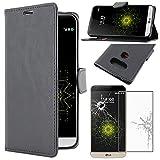 ebestStar - LG G5 Hülle H850, G5 Dual, G5 SE, G5 Lite Kunstleder Wallet Case Handyhülle [PU Leder], Kartenfächern Standfunktion, Schwarz + Panzerglas Schutzfolie [G5: 149.4 x 73.9 x 7.7mm, 5.3'']