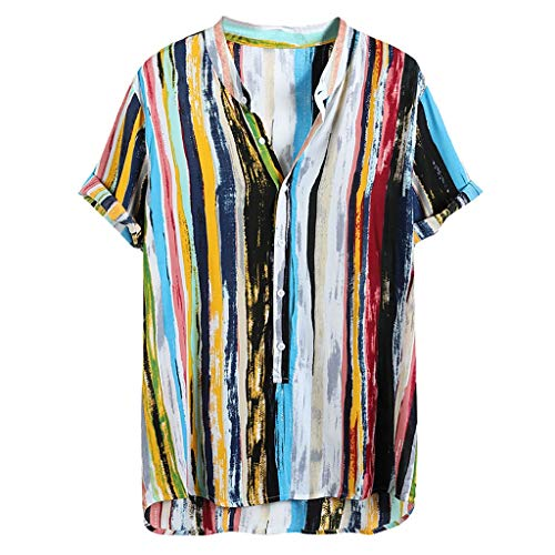 Herren Hawaiihemd Kurzarm Sommerhemd Hawaii-Print Knopfleiste Shirt Casual Strand Tops Männer Freizeithemd Leichte Atmungsaktives Bequem (L, Mehrfarbig) -
