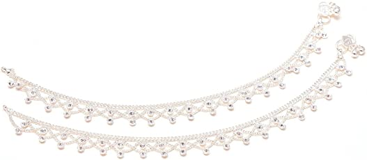 Jewar Mandi White Silver Plated Anklet For Women