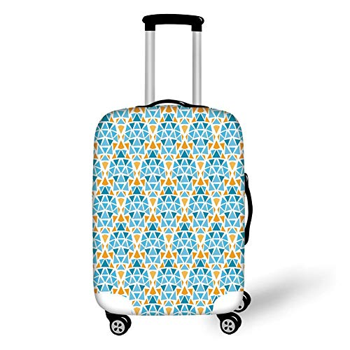 Travel Luggage Cover Suitcase Protector,Yellow and Blue,Diamond Shaped Triangle Geometric Fractal Mosaic Traditional Motif,Aqua Teal Marigold,for Travel M Sun Diamond Girl