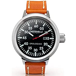 Chotovelli Big Pilot Men's Watch Black Aviation Dial Analogue Display Brown leather Strap 747.03