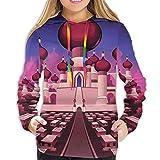 MLNHY Women's Hoodies Tops,Arabian Castle At Night Oriental Fairy Tale Palace Landscape Illustration,Hoodie Sweatshirt Apparel for Women,Lady, Teens And Girls,Size:L