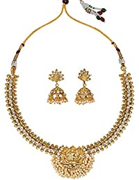 Dancing Girl 1 Gm Gold White Copper Alloy Necklace Sets Jewellery Sets For Women Girls