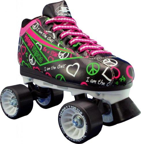 Pacer Heart Throb Rollschuhe, Unisex Mädchen Damen Herren Jungen, Schwarz, Größe 6 (Roller Skates Für Jungen Größe 6)