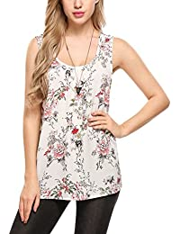 Zeagoo Women's Sleeveless Long Flowy Shirt Solid Basic Loose Tunic Lined Vest Tank Tops
