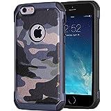 iPhone 6/6s Camouflage Hülle | JAMMYLIZARD Outdoor-Schutzhülle [Army HD] Military Case aus Silikon und Leder mit Tarnmuster, Blau