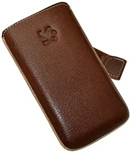 Original Suncase Pouch with Flap and Pull-Up Strap for iPhone 4/iPhone 4S Full-Grain Brown Leather