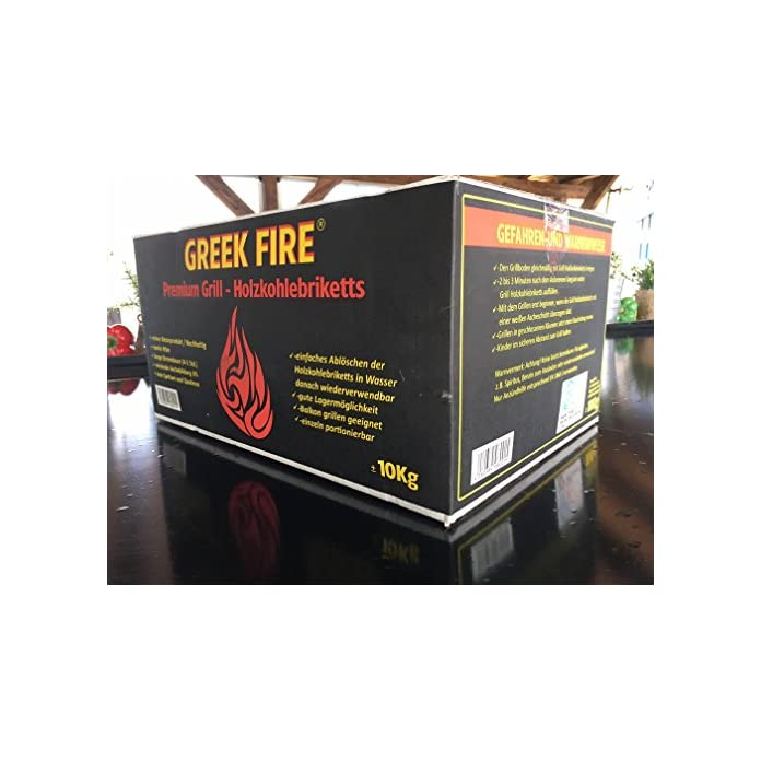 10 Kg Greek Fire Profi Holzkohlebriketts