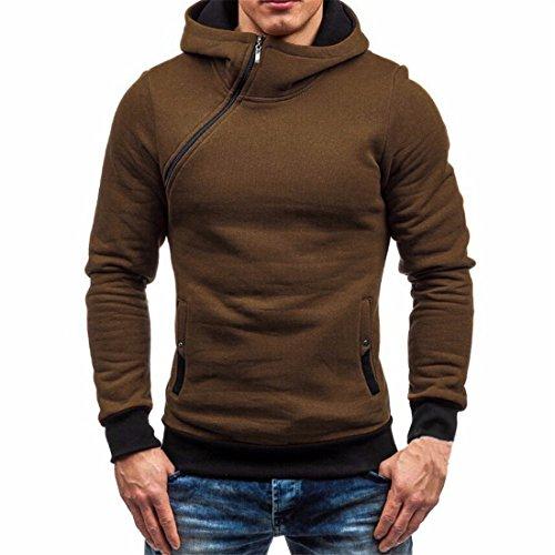 Männer Kapuzen-Sweatshirt,FRIENDGG Herren Herbst Winter Langer Hülse Reißverschluss Kapuzenpulli Beiläufiger Mode Solide Mantel Warm Pullover Outwear Tops Bluse (L, Braun)