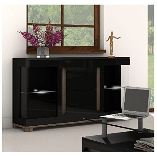 Black Gloss Sideboard Chest of Drawers Cabinet with Glass Doors