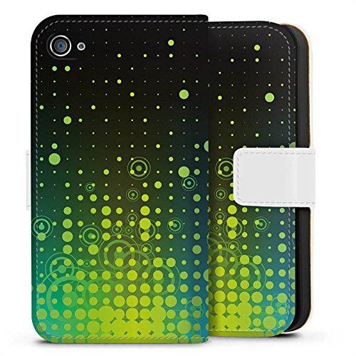 Apple iPhone X Silikon Hülle Case Schutzhülle Punkte Kreise Muster Sideflip Tasche weiß