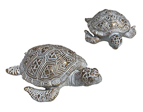 Home Collection Set 2 White and Gold Assorted Turtles 13 cm and Synthetic Resin Decorative Figure Home Decoration Garden Animal Figures