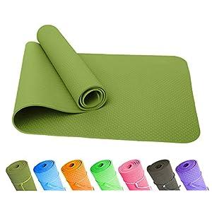 Good Times Yogamatte, Gymnastikmatte, Unterlegmatten, Rutschfest, TPE, umweltfreundlich, hypoallergen, hautfreundlich, SGS geprüft, Fitnessmatte, Sportmatte, mit Tasche&Trageband, 183x61x0,8cm