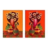 Happy Flowers painting Set of 2 ready to hang Frame Modern Abstract Textured Canvas Painting Wall Art Frame For Home Decoration Beautiful Flowers Yellow White color For wall Decoration for Living Room Bed Room Hotel Spa Corporate Office And Gifting
