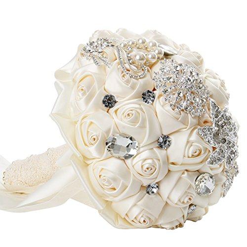 Cusfull bouquet di raso con strass per sposa mazzo di fiore rosa artificiali con crystal spilla di diamante artificiali perla per matrimonio decorata champagne rose -avorio bianco