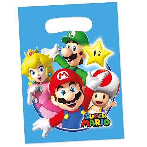 -Tüten Super Mario Brothers | ca. 16 x 23 cm | Originelle Party-Deko Geschenk-Tüten | Genau richtig für Kindergeburtstag & Kinderfest ()