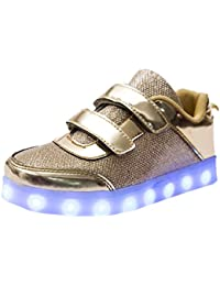 ffd7175685b DoGeek Zapatos LED Niños Niñas Negras Blanco 7 Color USB Carga LED  Zapatillas Luces Luminosos Zapatillas