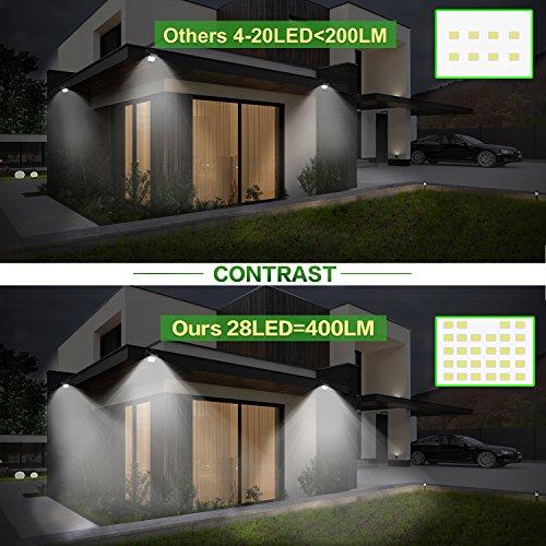 BAXiA Focos Solares Exterior, Luz Solar Jardín 28 LED con 400 LM ...