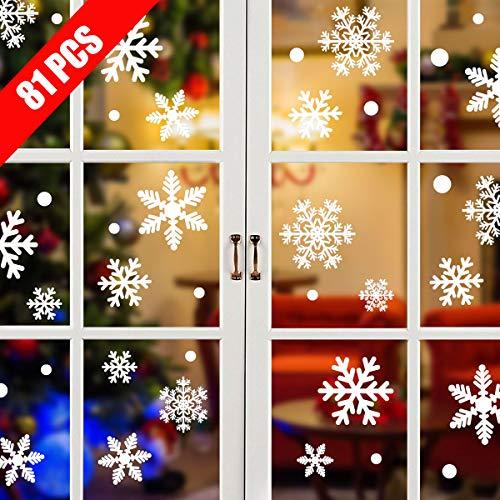 Tuopuda 81 Schneeflocken Fensterbild Abnehmbare Weihnachten Fensterdeko Statisch Haftende PVC Aufkleber Winter Dekoration