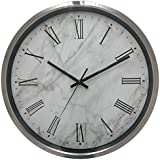 De'rons® Exclusive Stainless Steel Round Shape 30 Cm X 30 Cm Silent Movement Roman Figure Wall Clock For Home And Office 1713 (Silver Grey)