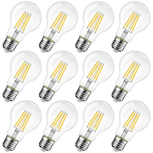 LVWIT Bombillas de Filamento LED E27 (Casquillo Gordo) - 8W equivalente a 60W, 806 lúmenes, Color blanco cálido 2700K. Bombilla retro vintage, No regulable - Pack de 12 Unidades.