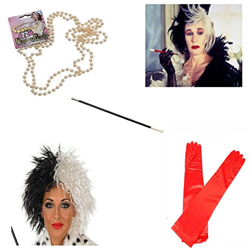 Ville De Cruella Kostüm Halloween Fasching Perücke Zigarettenspitze, - Cruella Kinder Perücke Deville