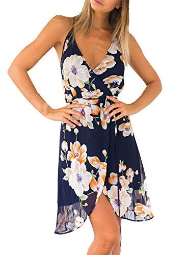 Azbro-Mujer-Vestido-de-Gasa-Asimtrico-Estampado-Floral-Tirantes-Espaguetis