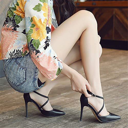 Domina-schuhe (FLYRCX Frühling und Herbst wies feine Damen sexy Schuhe Gurte Dokumentarfilm Temperament Schuhe mit hohen Absätzen, 38, EIN)