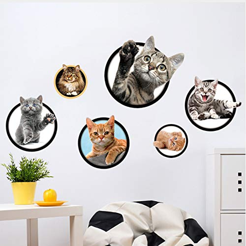 DAIHNZWC 3D Katze Kombination Wandaufkleber Für Kinderzimmer Wohnkultur DIY Kunst Decalsdecorations Tiere Aufkleber Tapete