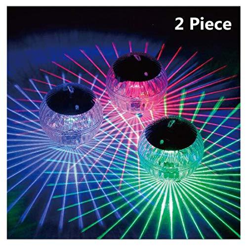 2 Stück Schwimmendes Pool Licht Wasserdichte LED Solar Power Multi Farbe Wasser Drift Lampe ändern Schwimmbecken