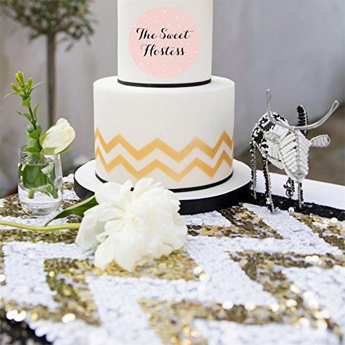 Trlyc Tischläufer 30,5x 152,4cm, elegant, luxuriös, für Hochzeiten und Partys, mit Pailletten, Rechteckig, verschiedene Farben sind erhältlich, Sonstige, gold chevron, 12