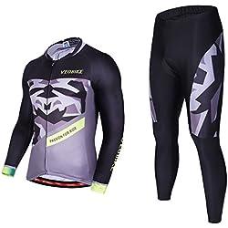 Asvert Malliot de Ciclismo Hombre 3D Cojín Conjunto Bicicleta de Montaña Ropa+Pantalones Culotte de Ciclista Largo Transpirable y Elástico para Primavera y Verano (L, Fantasía)