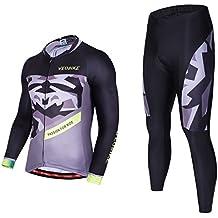 Asvert Malliot de Ciclismo Hombre 3D Cojín Conjunto Bicicleta de Montaña Ropa+Pantalones Culote de Ciclista Largo Transpirable y Elástico para Primavera y Verano (L, Fantasía)